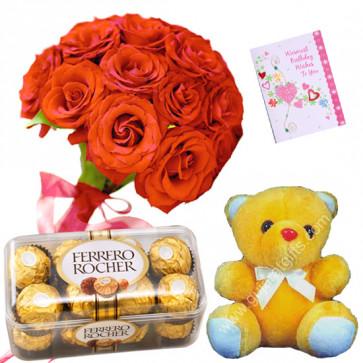 Rose Ferrero Bear - 14 Red Roses Bunch, Teddy 6 inch, Ferrero Rocher 16 Pcs + Card