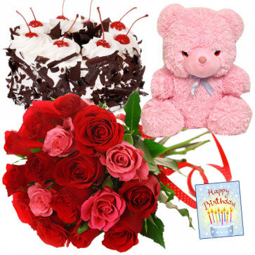 Red N Pink Delight - 12 Red & Pink Roses Bunch, Teddy 6 inch, Black Forest Cake Heart Shaped 1 kg + Card