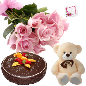 Rose Teddy Cake - 10 Pink Roses Bunch, Teddy 6 inch, Chocolate Cake 1/2 Kg + Card