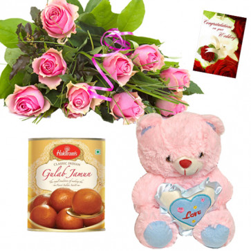 Pink Soft Heart - 8 Pink Roses Bunch, Teddy 6 inch with Heart, Gulab Jamun 500 gms + Card