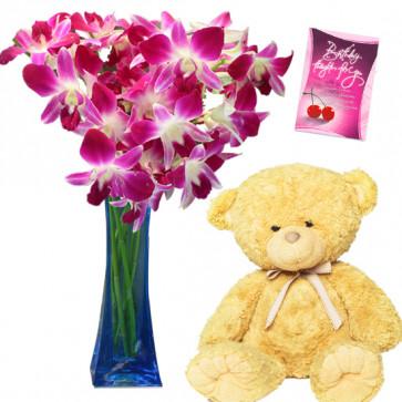 Vase Full of Love - 8 Purple Orchids Vase, Teddy 6 inch + Card