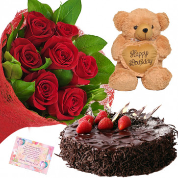 Red Choco Heart - 12 Red Roses Bunch, Teddy 6 inch with Heart, Chocolate Cake 1/2 kg + Card