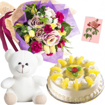 Mix Pina Teddy - 20 Mix Flowers Bunch, Teddy 10 inch, Pineapple Cake 1/2 kg + Card