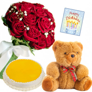Rose Teddy Cake - 8 Red Roses Bunch, Teddy 6 inch, Pineapple Cake 1/2 kg + Card