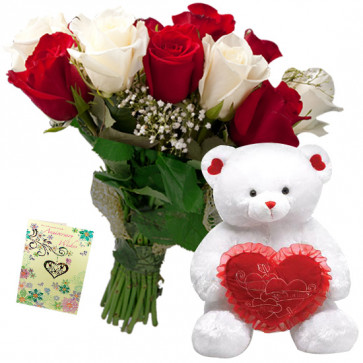 Floral Heart - 9 Red and White Flowers Bunch, Teddy with Heart 8 inch + Card