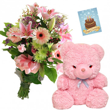Mix Pink Teddy - 15 Mix Pink Flowers, Teddy 6 inch + Card
