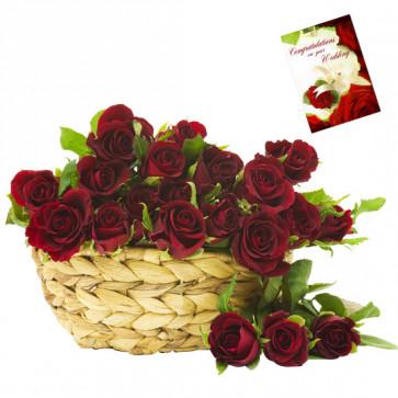 Basket of Roses - 21 Red Roses Basket & Card