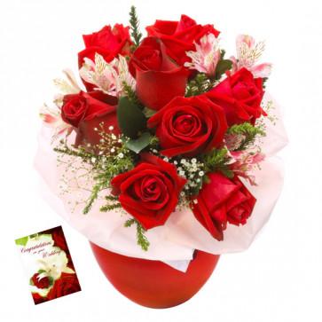 Six Rose Vase - 6 Red Roses in Vase & Card