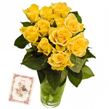 Yellow Roses Vase - 12 Yellow Roses in Vase & Card