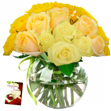 Many Yellow Roses - 30 Yellow Roses in Vase & Card