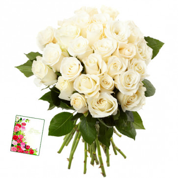 Fifty Shades of White - 50 White Roses Bunch & Card