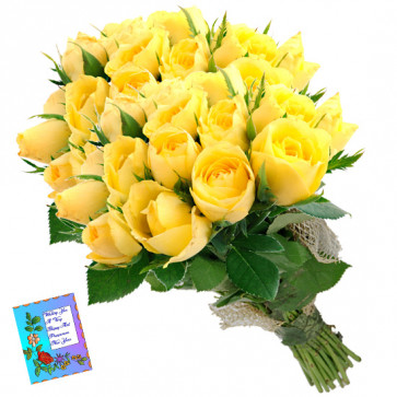 Numerous Yellow Roses - 50 Yellow Roses Bunch & Card