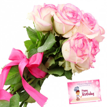 Six Pink Roses - 6 Pink Roses Bunch & Card