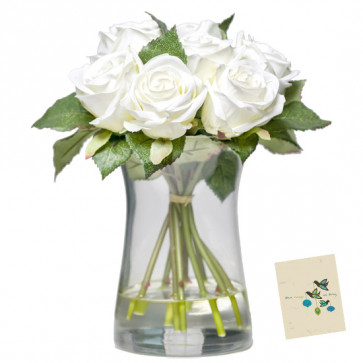 Six White Vase - 6 White Roses in Vase & Card