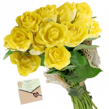 Merry Gift - 10 Yellow Roses Bunch & Card