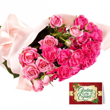 Beaming Pink - 18 Pink Roses Bunch & Card