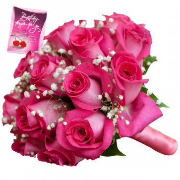 Buoyant Bunch - 12 Pink Roses Bunch & Card