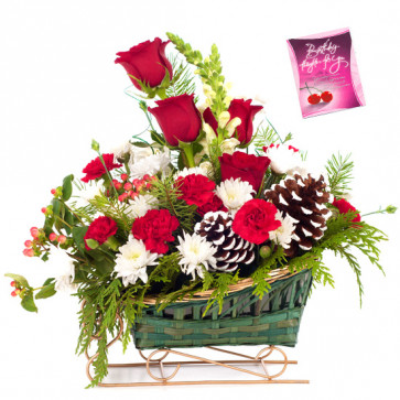 Red N White Delight - 6 Red Roses with 10 White N Red Carnations Basket & Card