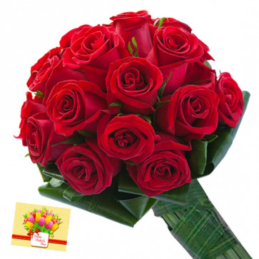 Sunny Bright - 18 Red Roses Bunch & Card