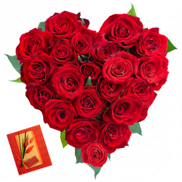 Heart of Rose - 25 Red Roses Heart Shape Arrangement in Basket & Card