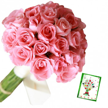 Blessed & Delight - 50 Pink Roses Bunch & Card
