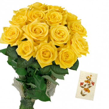 Roses of Fortune - 30 Yellow Roses Bunch & Card
