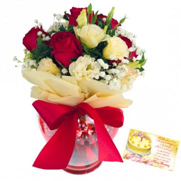 Red N White Vase - 10 Red & White Roses in Vase  & Card