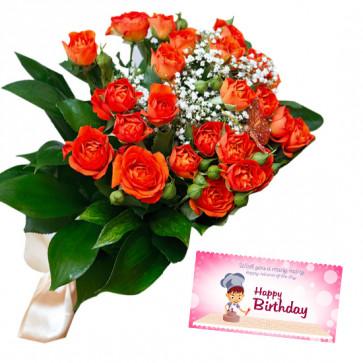 Orange Bunch - 12 Orange Rose Bunch  & Card