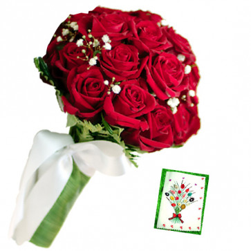 Exciting Bunch - 10 Red Roses Bunch & Card