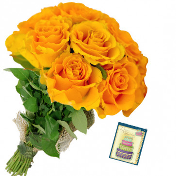 Yellow Gratification - 6 Yellow Roses Bunch & Card