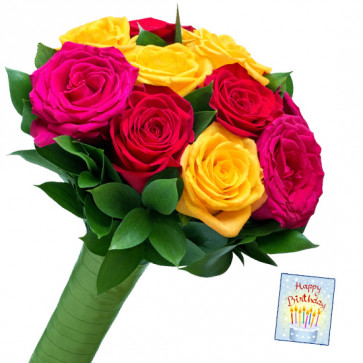 Charming Mix - 10 Mix Roses Bunch & Card