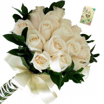Joy of White - 12 White Roses Bunch & Card