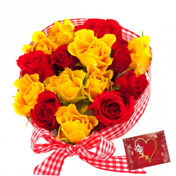 Red N Yellow Bunch - 15 Red & Yellow Roses Bunch & Card