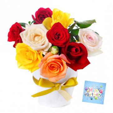 Best Ten - 10 Mix Roses in Vase & Card