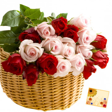 Pink N Red Basket - 20 Red & Pink Roses Basket & Card