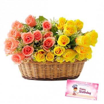 Pink N Yellow Roses - 24 Pink & Yellow Roses Basket & Card