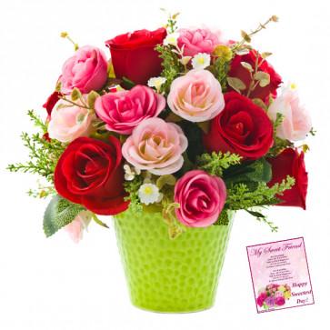 Red N Pink Rose Vase - 15 Red & Pink Roses in Vase & Card