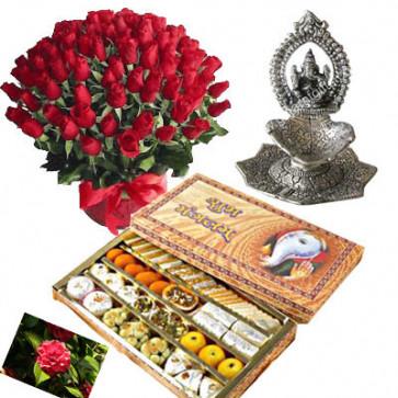 Wedding Gifts - 50 red roses in basket, Kaju Mix, Ganesh Diya with card