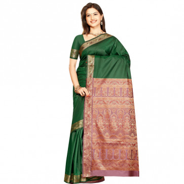 Green and Purple Silk Saree