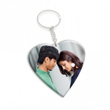 Heart Shaped Wooden Photo Keychain & Card
