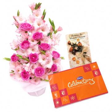 Colorful Bunch - 24 Pink Gladiolus & 12 Roses Bouquet + Cadbury Celebration 162 gms + Card