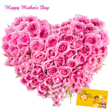 Grand Pink Heart - Heart Shaped Arrangement of 100 Pink Roses and Card