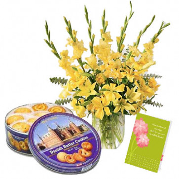 Smile for You - 24 Yellow Gladiolus in Vase + Danish Butter Cookies 454 gms + Card