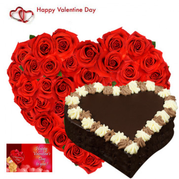 Valentine Hearty Treat - 50 Red Roses Heart Shape + Chocolate Heart Cake 1 kg + Card