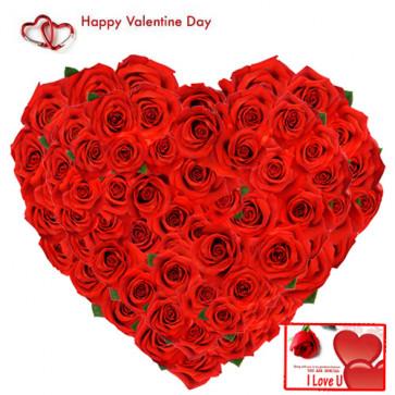 Roses Heart - 75 Red Roses Heart Shape Arrangement + Card