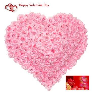 Romantic Heart - 100 Pink Roses Heart Shape Arrangement + Card