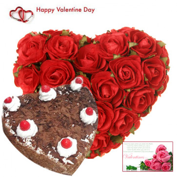 Valentine Pure Heart - 30 Red Roses Heart Shape + Black Forest Heart Cake 2 kg + Card