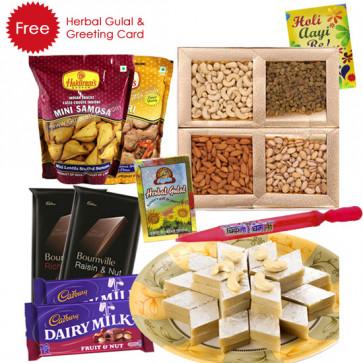 Holi Celebration - Kaju Katli, Assorted Dry Fruits, 2 Haldiram Namkeen, 2 Bournville, 2 Fruit n Nuts, Pichkari, Herbal Gulal & Greeing Card