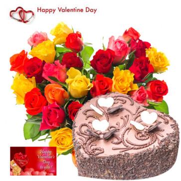 Valentine Choco Heart - 50 Mix Roses Heart Shape + Chocolate Heart Cake 1 kg + Card