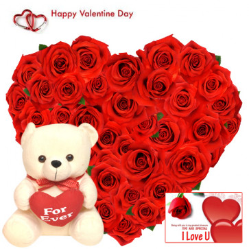 """Heart Roses & Teddy - 50 Red Roses Heart Shape + Teddy with Heart 8"""" + Card"""